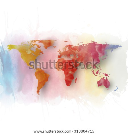 World map element, abstract hand drawn watercolor background, great composition for your design, illustration.