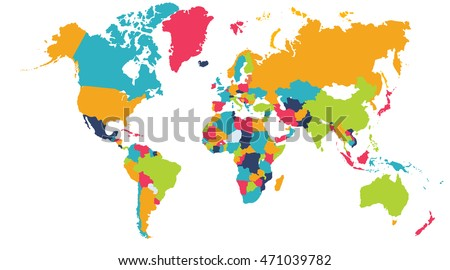 World Map, Europe, Asia, North America, South America, Africa, Australia / Australasia / Oceania. A world map is a map of most or all of the surface of the Earth. #471039782