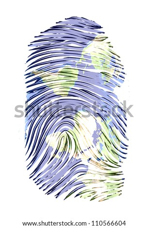 World Map finger print