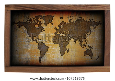 World map frame isolated on white background. - stock photo