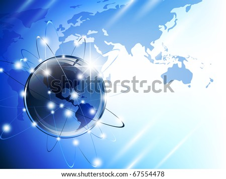 World map (from NASA public domain http://earthobservatory.nasa.gov/GlobalMaps) with glossy earth globe