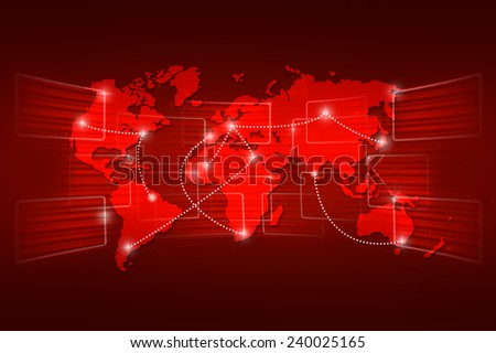 World map geography world order background shipping global red
