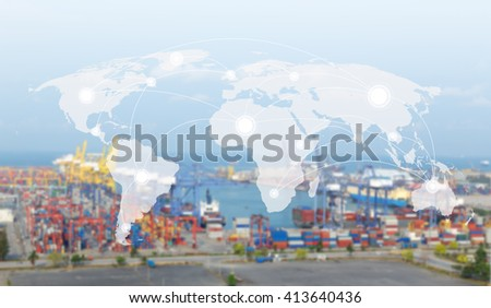 World map global network concept transport,Industrial Container Cargo freight ship  for Logistic Import Export background  (Elements of this image furnished by NASA)