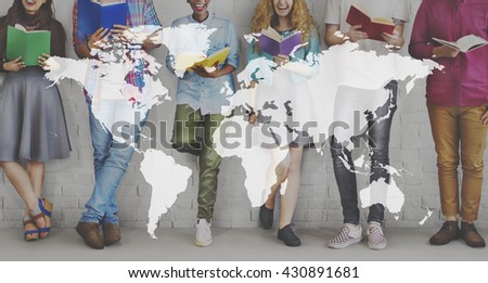 World Map Globalization Cartography Global Planet Concept