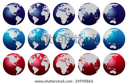 World map globes in different colors