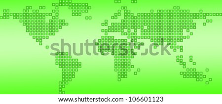 World map green dotted, isolated on a white background