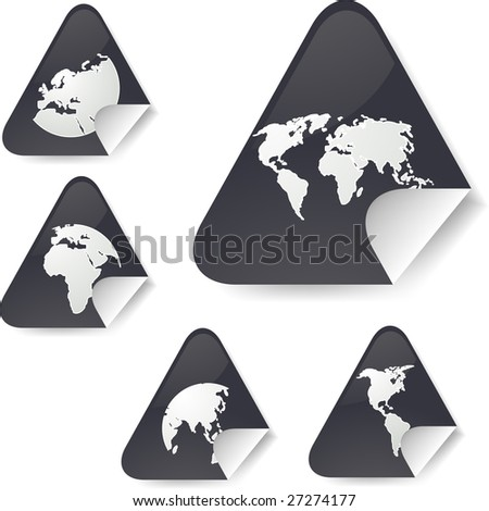 World map icons on triangle sticker shapes