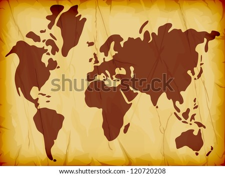 world map illustration on old grungy paper paper background