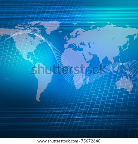 world map illustration with communication and technology symbols