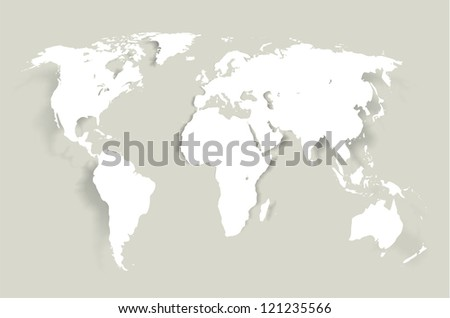 World- map illustration with smooth  shadows and white map of the continents of the world- design element for infographics, and other global illustrations