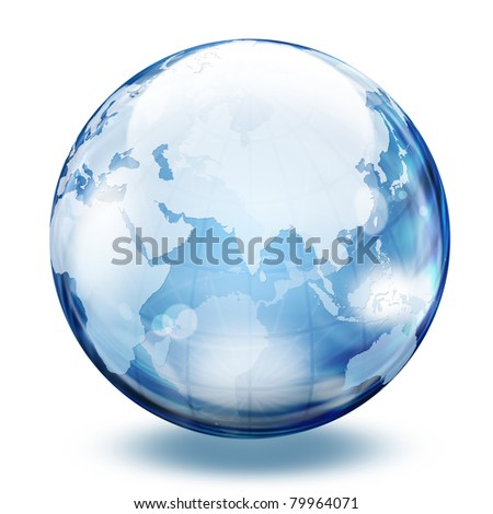 World map in a glass sphere 2