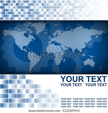 World map in Abstract business background blue color