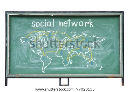 World map in blackboard