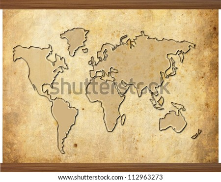 World map in old grunge style with wooden frame