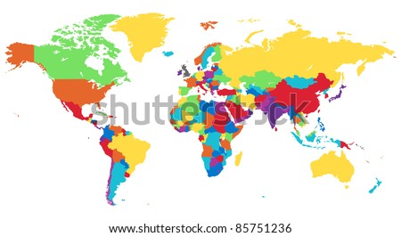 World map in rainbow colors. #85751236
