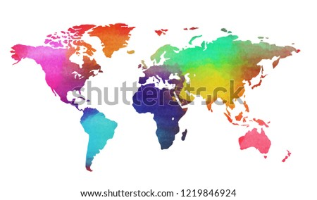 World map in watercolor style isolated on white background. Digital art painting. #1219846924