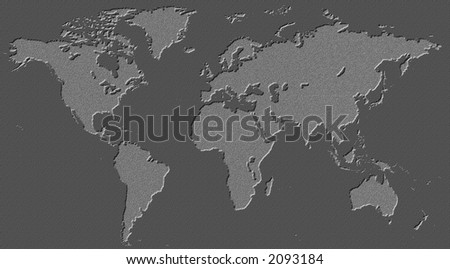 world map incised into black marble or granite