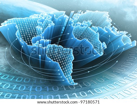 World Map interconnected by information. Concept of global information and technology of communication.