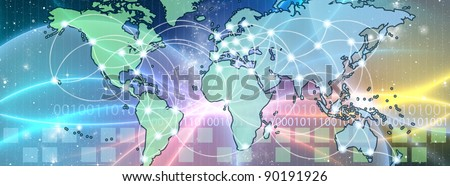 World Map interconnected by wire (Fiber Optics) of the information. Concept of global information and technology of communication.