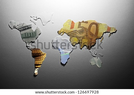 World map made from paper with money texture. Money concept.