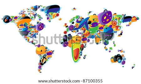 World map made of colorful travel and leisure icons. Raster version. Vector version is also available. - stock photo