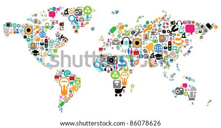 World map made of internet and computer icons. Raster version. Vector version is also available.