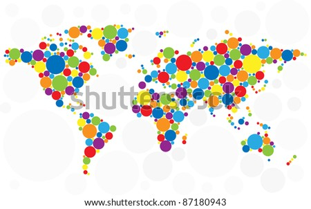 World map made of multicolored bubbles. Raster version. Vector version is also available.