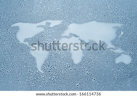 World map made out of water droplets