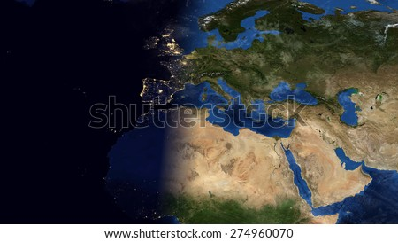 World Map Montage - Europe Day & Night Contrast (Public Domain Maps ...
