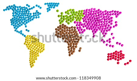 World map of candy