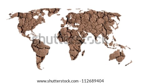 world map of dry land on white background