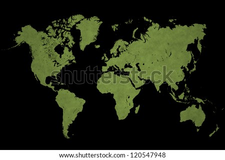 World map on a black background