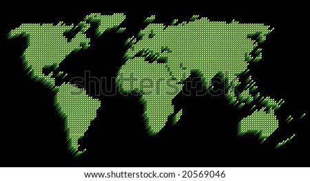 World map on a black background.