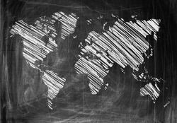 World Map on a Blackboard