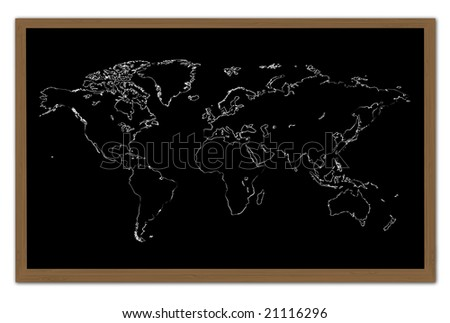 World Map on a Chalkboard - stock photo