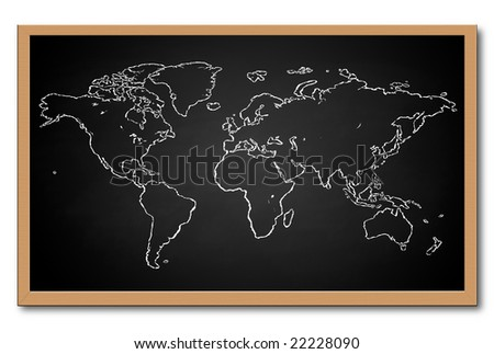 World Map on a Chalkboard (Available in Black and Green) - stock photo