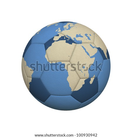 World Map on a Soccer Ball Centered on African Continent (jpeg file has clipping path)