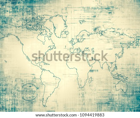World map on a technological background, glowing lines symbols of the Internet, radio, television, mobile and satellite communications. #1094419883