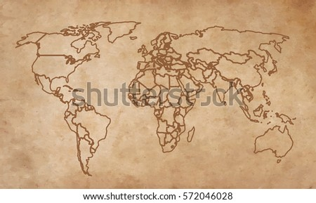 World map on an old piece of paper.