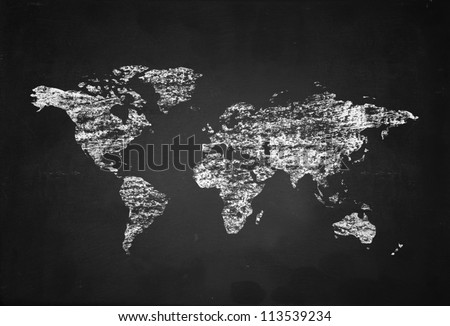 world map on black board background