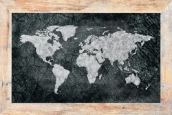 World map on blackboard.