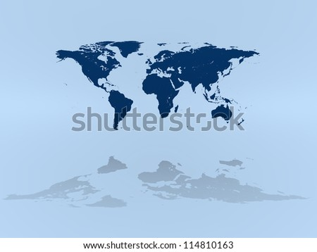 World map on blue background with reflection. Elements of this image furnished by NASA