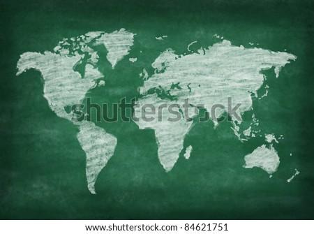 world map on chalkboard ,chalk drawing