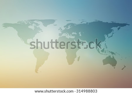 World map on colorful blurred backgrounds.blurred early morning backgrounds.blurred backgrounds concept.pastel tone