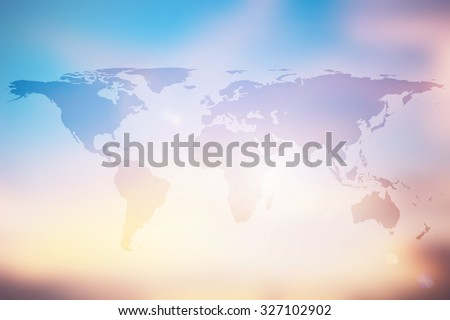 World map on colorful blurred backgrounds.blurred early morning backgrounds.blurred backgrounds concept.pastel warm colored tone.