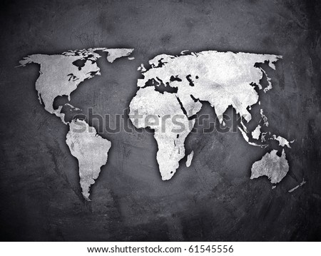 world map on concrete wall