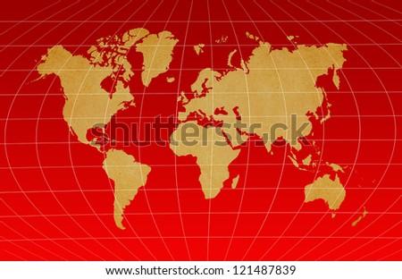 World Map on dark red background.