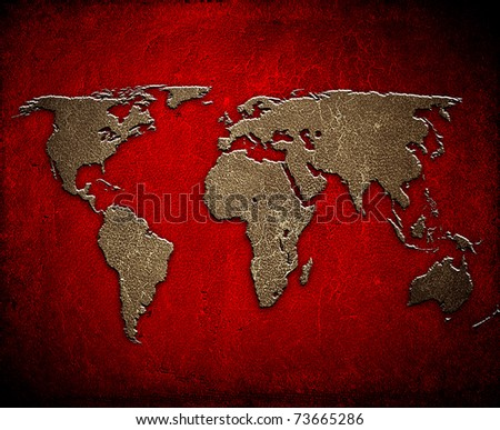 world map on leather background