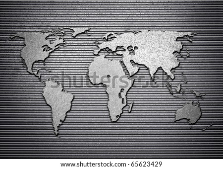 world map on metal plate