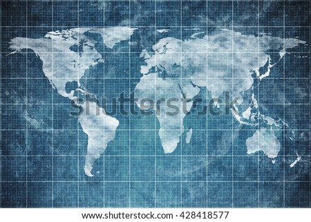 world map on old blueprint background texture. Technical backdrop paper. Concept Technical / Industrial / Business / Engineering